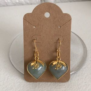 4 Natural jade stone earring set gold tone just in